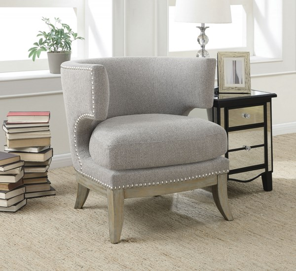 Grey Fabric Wood Barrel Back Accent Chair CST-902560