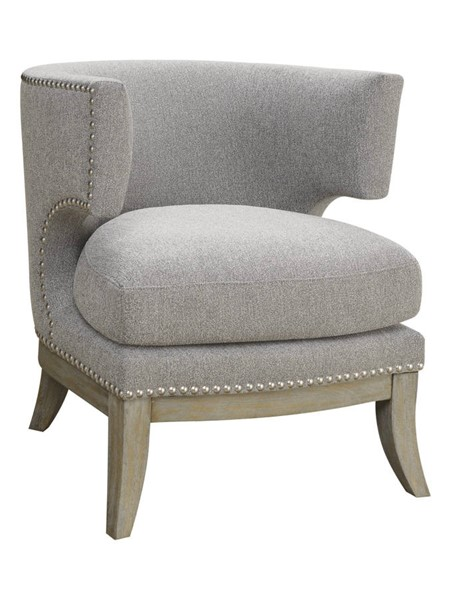 Coaster Furniture Grey Fabric Wood Barrel Back Accent Chair CST-902560