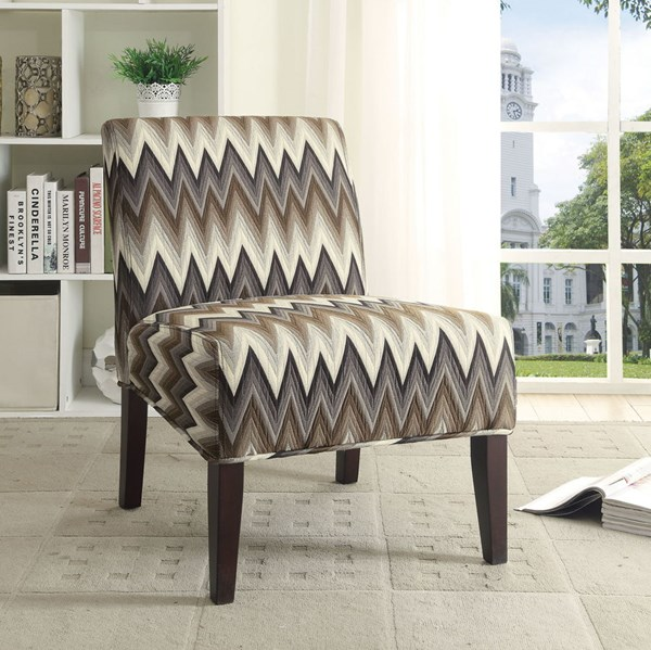 Finley Cappuccino Wood Cement Fabric Cushion Back Accent Chair CST-902564