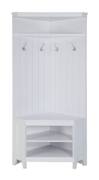White Cappuccino Wood Corner Four Double Hook Hall Trees CST-90257-HT-VAR