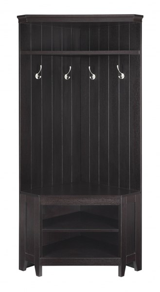 Cappuccino Wood Corner Four Double Hook Shoe Storage Hall Tree CST-902575