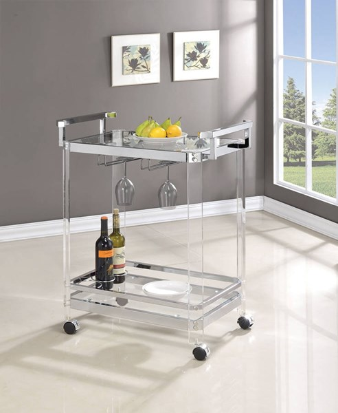 Clear Acrylic Tempered Glass Shelves Serving Cart CST-902589