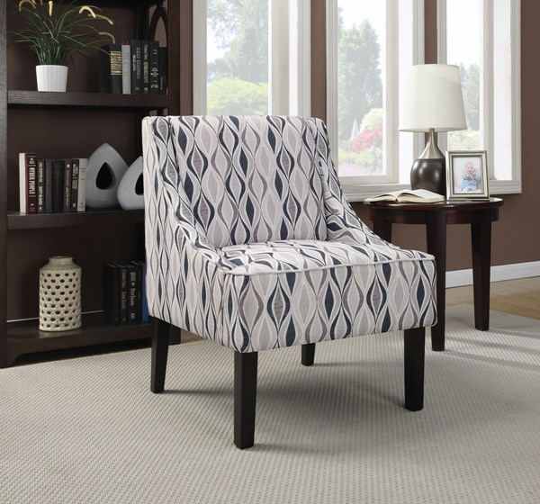 Light Blue Fabric Wood Cushion Back Accent Chair The