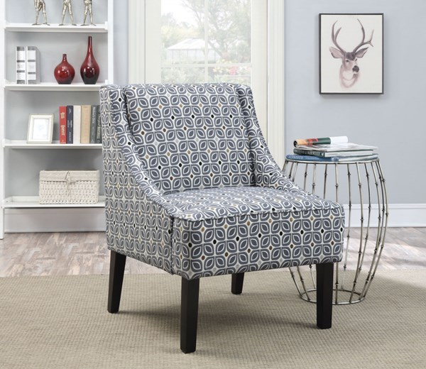 Blue Fabric Wood Cushion Back Accent Chair w/Track Arms CST-902604