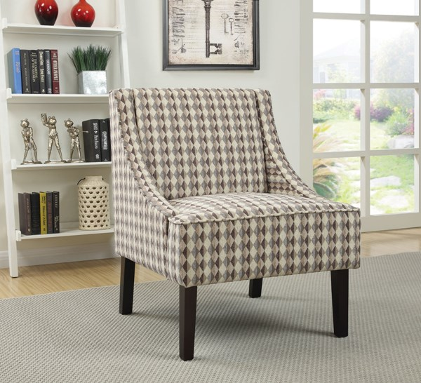 Light Brown Fabric Wood Cushion Back Accent Chair CST-902605