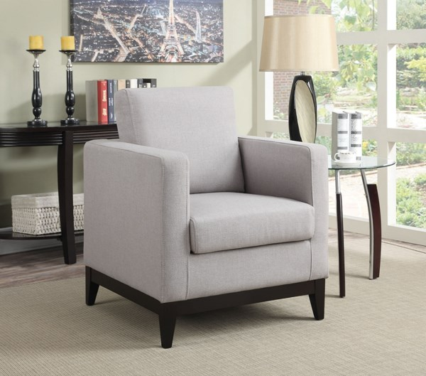 Grey Fabric Wood Track Arms Accent Chair w/Cushion Back CST-902608