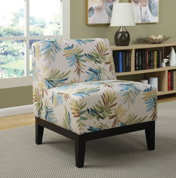 Blue Green Fabric Wood Cushion Back Accent Chair CST-902614