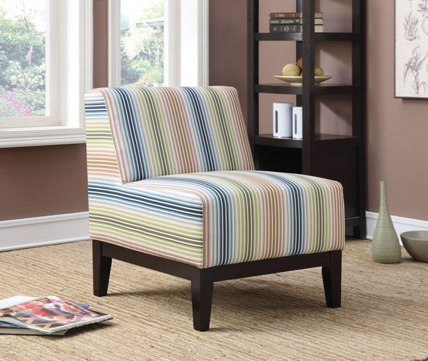 Fabric Wood Striped Cushion Back Accent Chair CST-902615