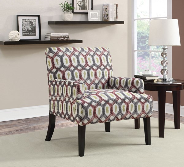 Red Grey Fabric Wood Cushion Back Accent Chair CST-902620