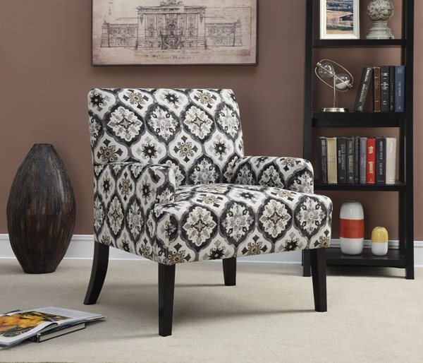 Grey Dark Brown Fabric Wood Accent Chair The Classy Home