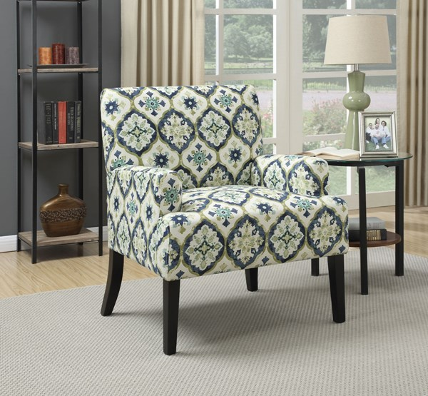 Dark Blue Brown Fabric Wood Accent Chair CST-902622
