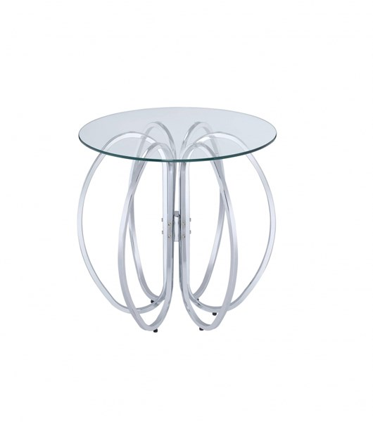 Chrome Metal Six Interlocking Circle Base Accent Table CST-902633
