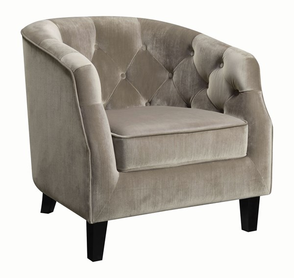 Coaster Furniture Taupe Velvet Barrel Back Button Tufted