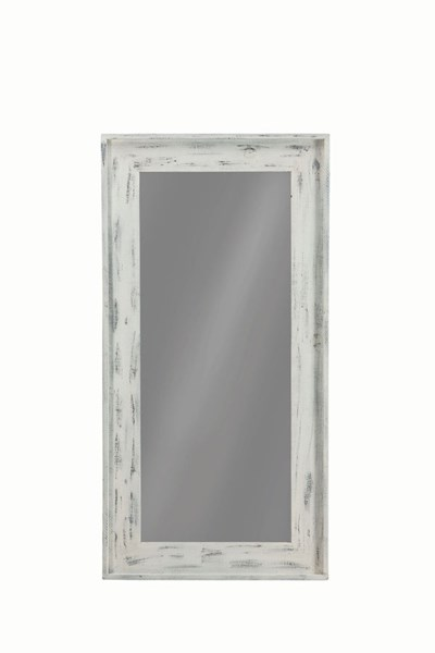 Coaster Furniture Distressed White Solid Pine Wood Glass Floor Mirror The Classy Home