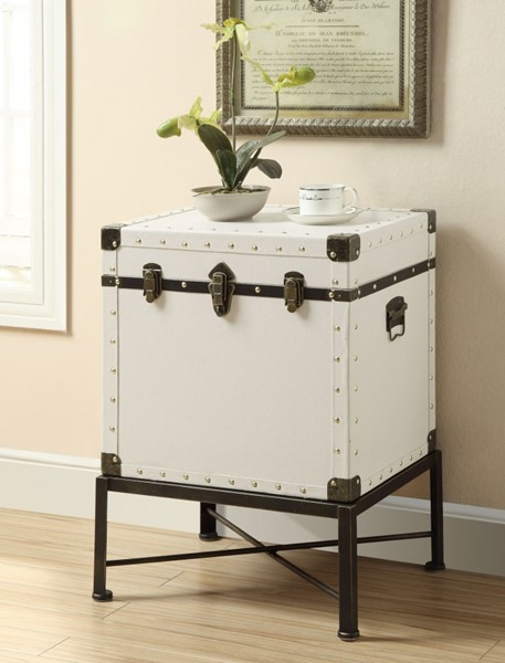 White Wood Trunk Square Storage Side Table CST-902819