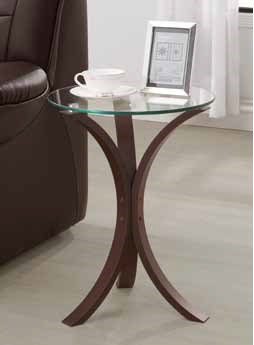 Contemporary Cappuccino Wood Glass Snack Table CST-902867