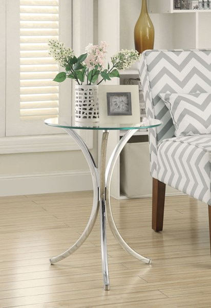 Chrome Tempered Glass Metal Round Accent Table CST-902869