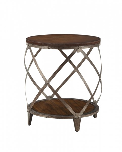 Transitional Brown Wood Metal Accent Table CST-903326