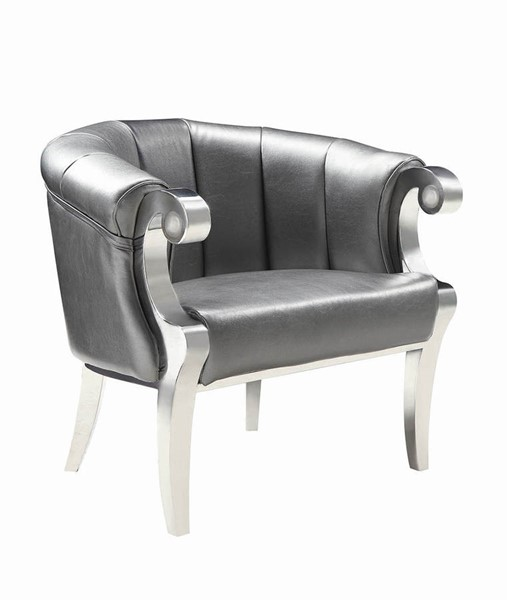 Superb Coaster Furniture Grey Faux Leather Chrome Accent Chair Cjindustries Chair Design For Home Cjindustriesco