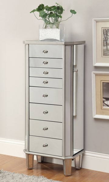 Contemporary Silver Wood Jewelry Cabinet CST-903808