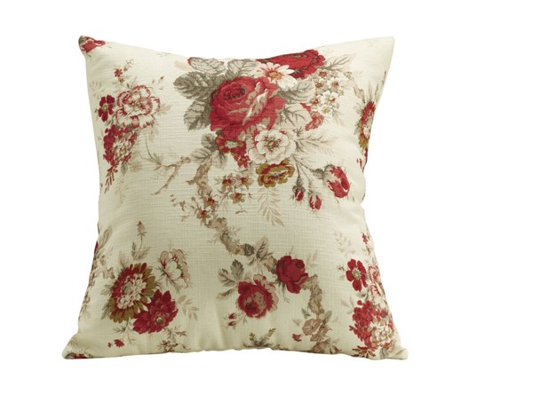 Red Fabric Rose Floral Square Accent Pillow CST-905066