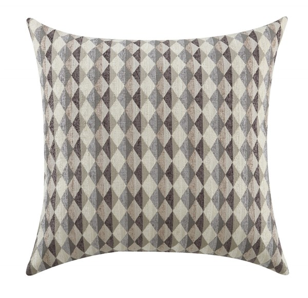 2 Grey Geometric Pillows W/Checker Pattern CST-905100