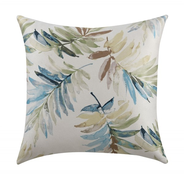 2 Blue Pillows w/Watercolor Leaves Pattern CST-905105