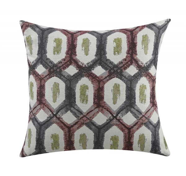 2 Red Grey Geometric Pillows W/Turtle Shell Pattern CST-905109