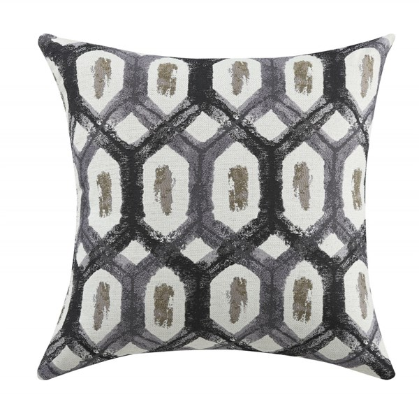2 Grey Charcoal Geometric Pillows W/Turtle Shell Pattern CST-905112