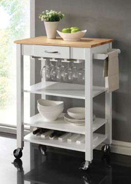 Coaster Furniture White Kitchen Cart CST-910025