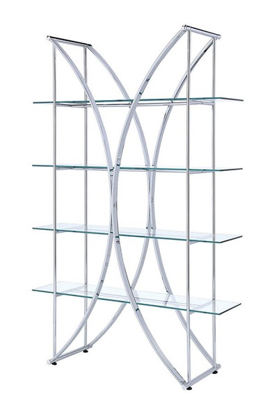 Coaster Furniture Chrome Glass 4 Shelves Bookcase CST-910050