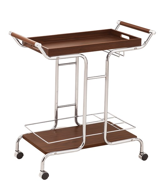 Chrome Brown Wood Serving Cart w/Removable Tray Top CST-910065