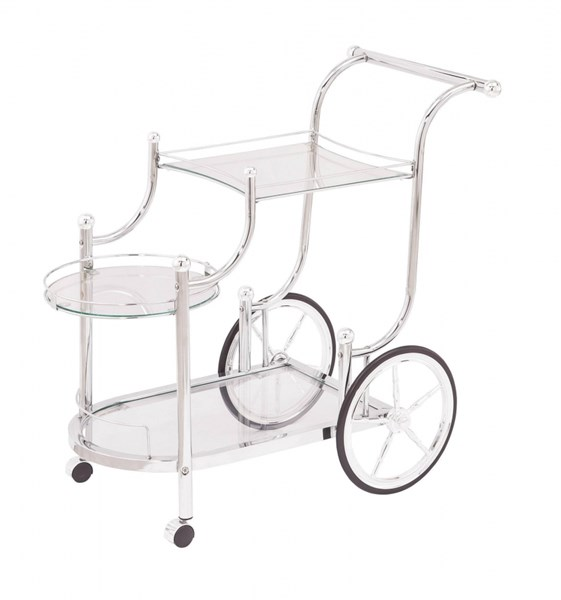 Traditional Chrome Metal Glass Serving Cart CST-910076