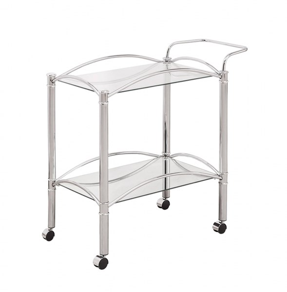 Chrome Glass Open Storage Serving Cart W/Casters CST-910077