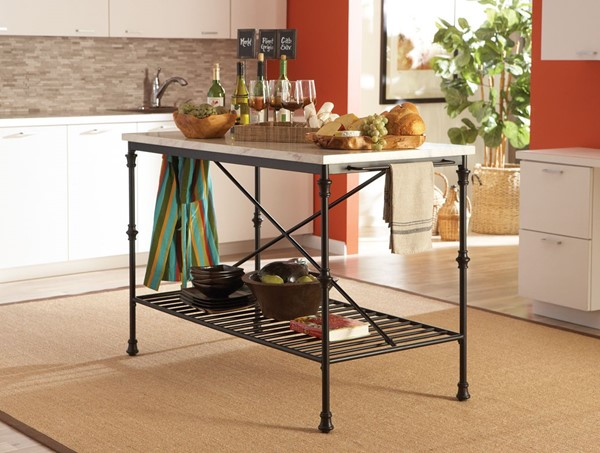 Black Faux Marble Metal Shelves Kitchen Cart CST-910120