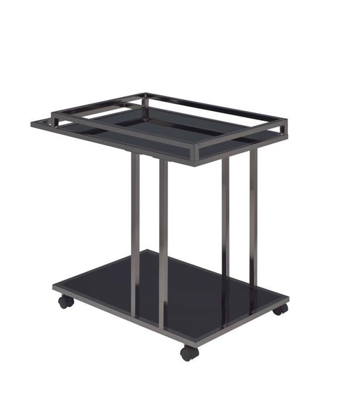 Coaster Furniture Black Glass Two Shelf Nickel Frame Serving Cart CST-910146