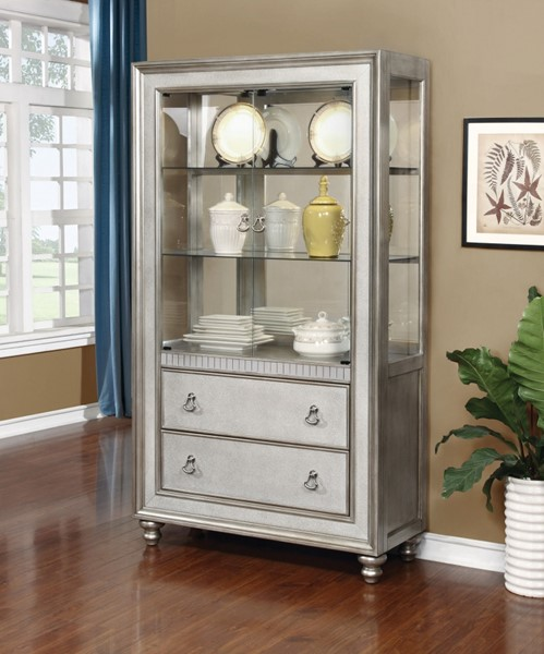 Metallic Platinum Curio Cabinet w/Two Glass Shelves & Touch Lighting CST-910185