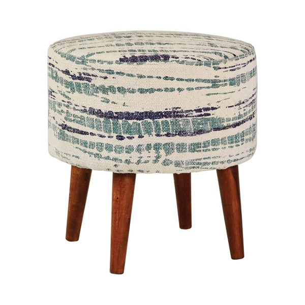 Coaster Furniture Blue White Round Accent Stool CST-918493