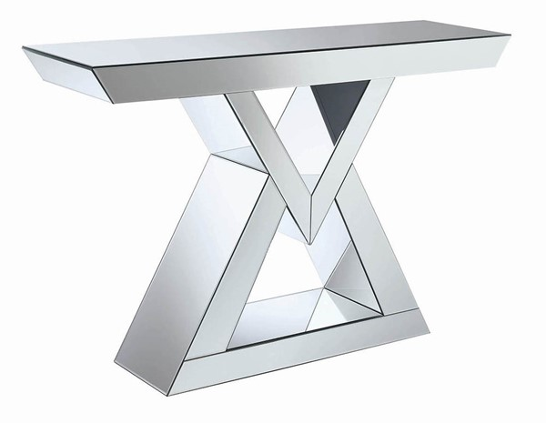Coaster Furniture Clear Mirror Triangle Base Console Table CST-930009