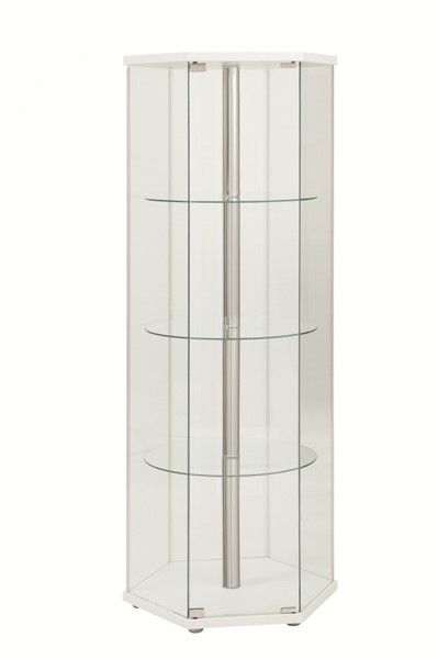 Contemporary White Black Glass Curio Cabinet CST-950001-276-VAR