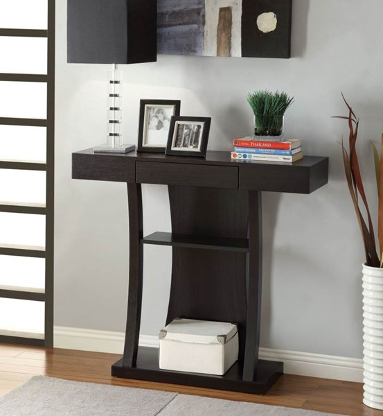 Contemporary Cappuccino Wood Console Table CST-950048