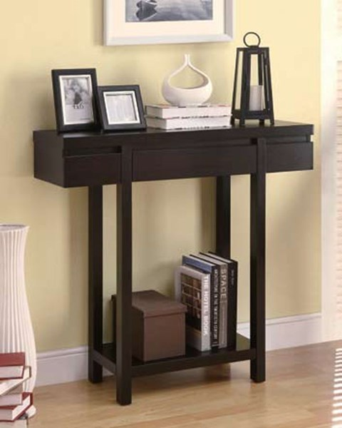 Modern Cappuccino Wood Shelves Entry Table CST-950135