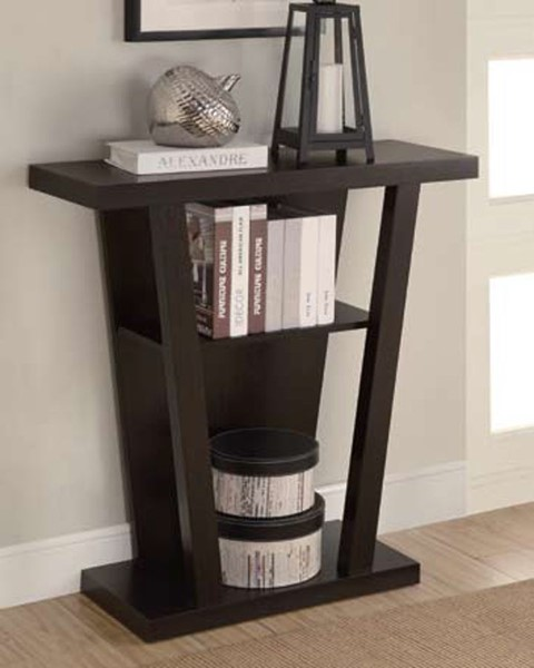 Cappuccino Wood Rectangle Entry Table W/Shelves CST-950136