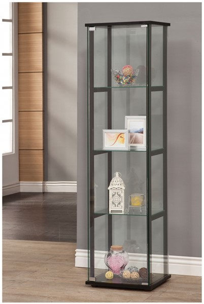 Contemporary Black Glass Tall Curio Cabinet CST-950171