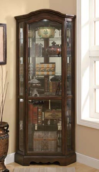 Brown Wood Glass Mirrored Back Corner Curio Cabinet CST-950175