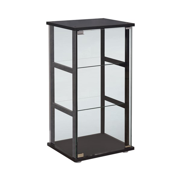 Coaster Furniture Black Glass 3 Tier Curio Cabinet CST-950179