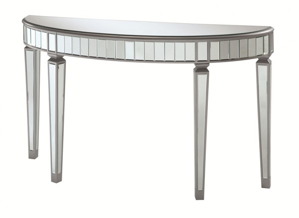 Contemporary Silver Wood Glass Console Table CST-950183