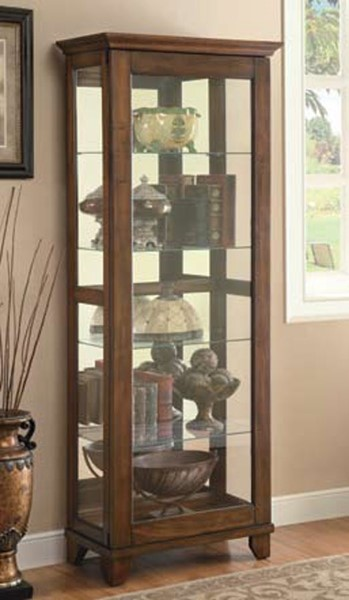 Brown Wood Glass Doors 4 Shelves Curio Cabinet CST-950188