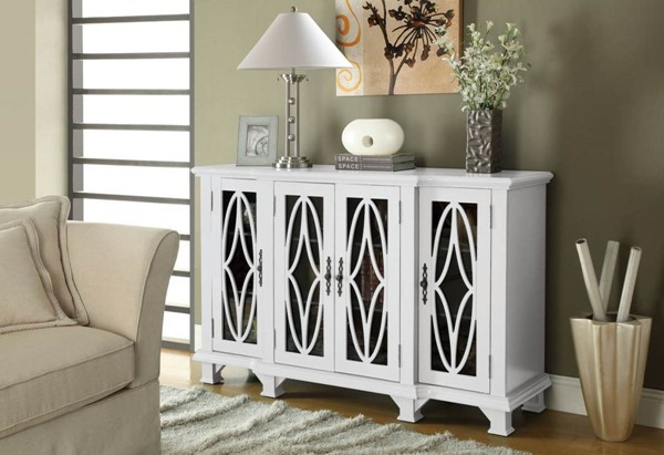 Transitional White Wood Doors Accent Cabinet CST-950265