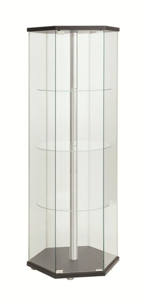 Contemporary Black Glass Doors Curio Cabinet CST-950276